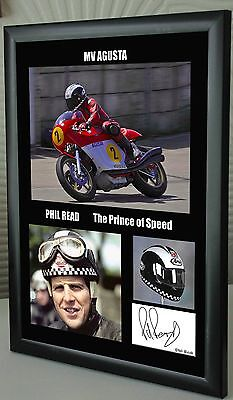 "Phil Read Isle of Man TT Motor Cycle Framed Canvas Signed ""Great Gift"" #2"