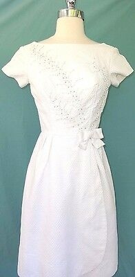 Neusteters Vintage White Dress 70s Beading Waffle Pique Cotton Fabric Summertime