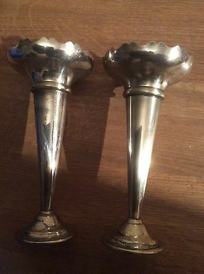 Pair of 1930s Silver Coloured Metal Candlestick Holders