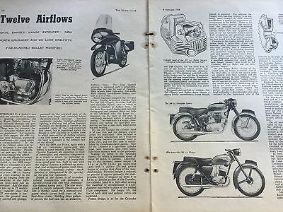 Royal Enfield 1958 Model Release Report - Original 2 Page Motorcycle Article