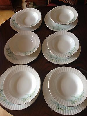Vintage Staffordshire China 6 dinner plates 6 soup bowls