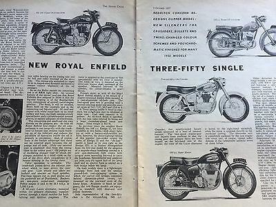 Royal Enfield 1957 Model Release Report - Original 2.5 Page Motorcycle Article