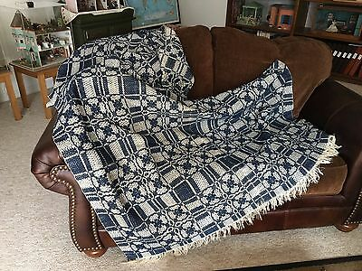 Blue and White Woven Coverlet/Throw with Fringe