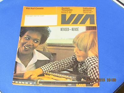 VIA Rail System TImetable October 28th 1979 - February 2nd 1980 - Revised EC