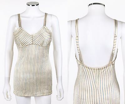 Vtg MABS OF HOLLYWOOD c.1940s Ivory Pinstripe One Piece Pin Up Bathing Swimsuit