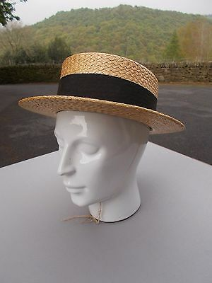 Dunn & Co vintage straw boater size 7