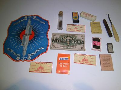 Lot Vintage Needles Holders Sewing Advertising, Family, Woolworth