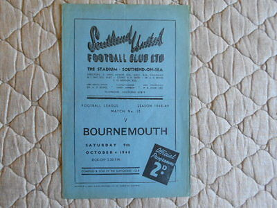 Southend Utd V Bournemouth Third Division South Match Programme October 1948