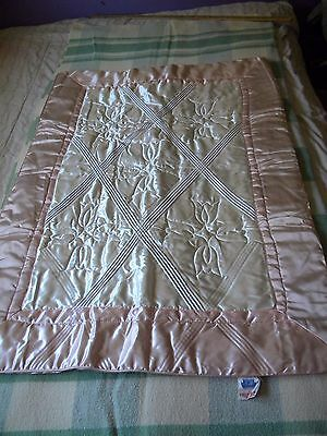 """Vintage BARCLAY Satin Baby Girl Quilt~Pink & White~ 42"""" x 31""""~ wow!"""