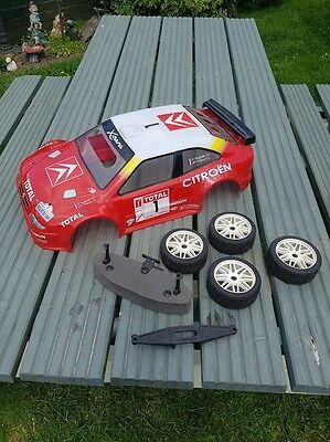 Nitro 1/8 Rc Buggy Thunder Tiger Eb4 S2.5 Set Of Wheels Shell Bumpers Conversion
