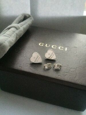 New Gucci Heart Silver Earrings With Original Box