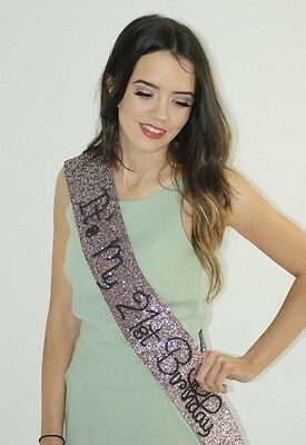Birthday Sash - 21st Birthday - Classy ROSE GOLD glitter