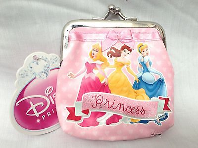 Girls Pink Official Disney 3 Princess Clasp Coin Purse /  Notes Wallet