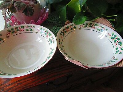 2 Cambridge potteries Holly Traditions Vegetable  Serving Bowls