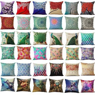 Colorful Cotton Linen Square Pillowcase Sofa Cushion Pillow Cover Home Decor