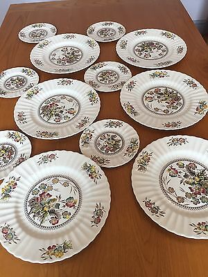 Art Deco Vintage Wade Dinner Plates and Tea Plates Meadow design X 12
