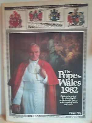 Authentic SOUTH WALES ECHO - POPE JOHN PAUL II VISITS CARDIFF (2nd June 1982)