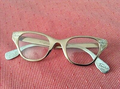 Vintage  Tura Cat Eye Glasses Rose Gold Copper Metallic Aluminum Eyeglasses