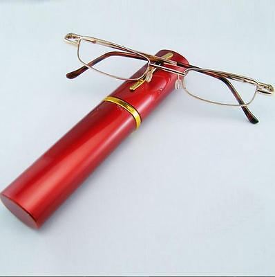 2017 New Red Comfy Reading Glasses Alloy Container Presbyopia +1.0  Diopter