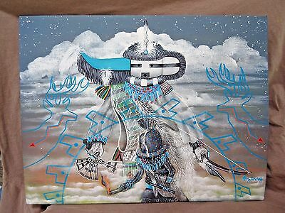 Zuni Acrylic on Canvas Board Painting Longhorn Kachina by Anthony Sanchez HP0052