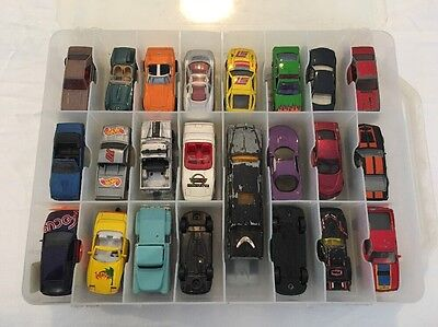 Mixed Lot Of 46 Diecast Cars With Case Matchbox Hot Wheels Majorette And More