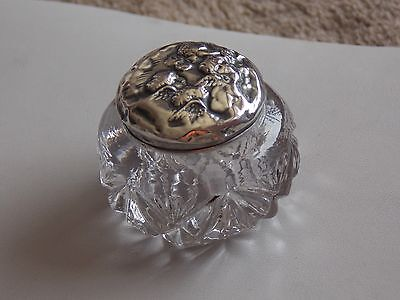 Gorgeous Antique 1905 Ladies Dressing Table HM Silver Cherub Lidded Inkwell