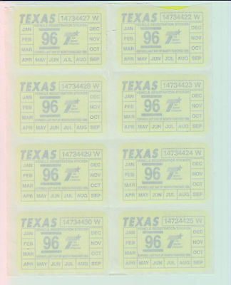 Lot Of 8 - State Of Texas - Stickers / Decals - No Dupes/unused - Mint Sheet