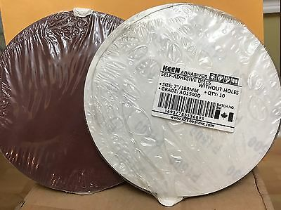 "Choice of Grit, KEEN 7"" PSA Paper Sanding Discs  No Vac Hole, 36772 (50/Pack)"