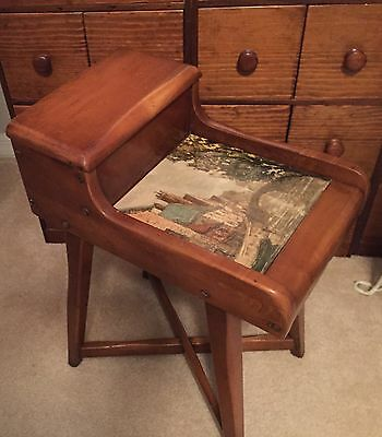 ANTIQUE SOLID Maple WOOD ARTS & CRAFTS TELEPHONE/ SIDE TABLE ~ Scenic Canal Art