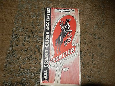 Frontier Motor Oil Service Station Road Map - Idaho Montana Wyoming - 1940-50s