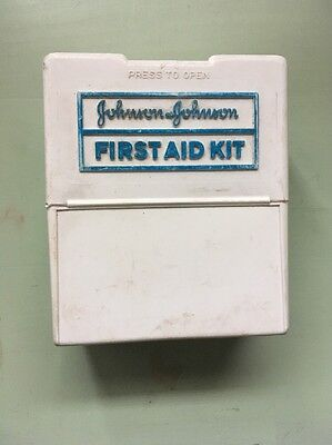 Vintage Johnson & Johnson Small First Aid Kit!  Wall Mountable! W Contents!