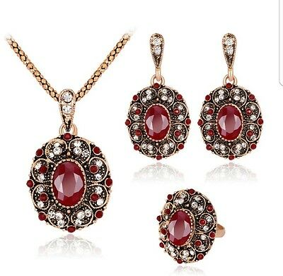 Vintage Wedding Jewelry Sets For Women Anitque Gold  Multi Color Crystal Red