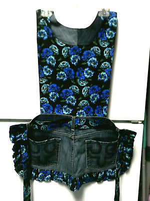 Apron, Women's Jeans w/pattern top, One Sz Fits Most, Hand-crafted, Blue Flower