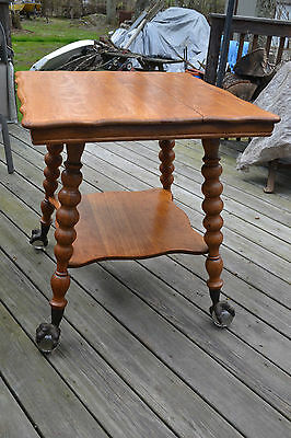Antique wood glass ball Brass claw foot Lamp table Furniture
