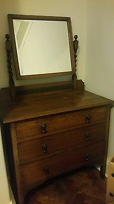 antique vintage oak dressing table with mirror & 3 drawers shabby chic