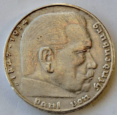 2 Mark 1937 D Third Reich Nazi Germany Silver coin