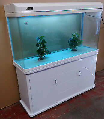 White 4ft Curved Glass Fish Tank, Cabinet and hood with lights Brandnew Set