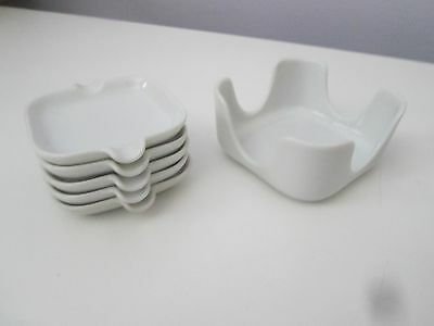 Vintage white set of 5 ashtray set with holder - Japan