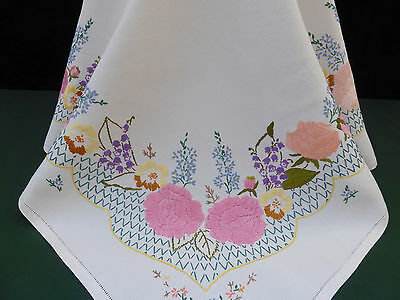 Vintage Irish Linen Tablecloth-Stunning Hand Embroidered Roses & More