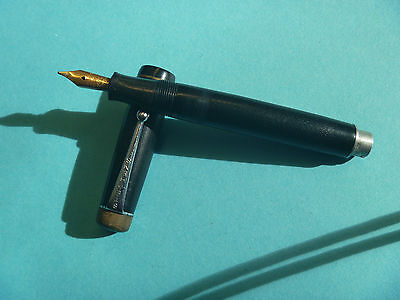 VINTAGE CIRCA 1930s STEPHENS No 76 BLACK RUBBER  PATTERN FOUNTAIN PEN