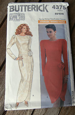 Oop Butterick 4375 Morton Myles lined evening dress dropped waist size 12-16 NEW
