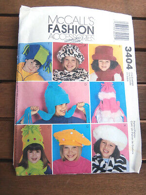 Oop McCalls Accessories 3404 childrens novelty hats scarves mittens NEW
