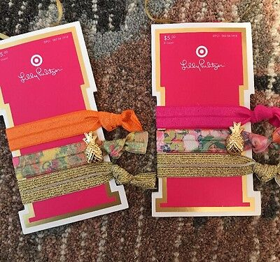 Lilly Pulitzer For Target Elastic Hair Ties 2 Set New Rare Pineapple Charm 6e32d166441