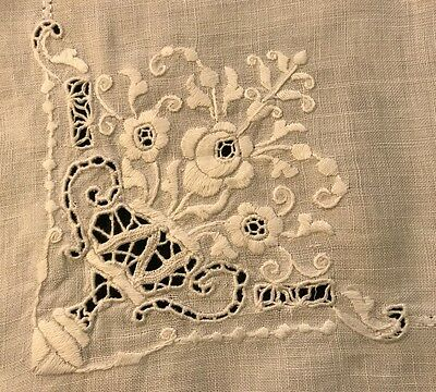 Old Vintage Hand Embroidered White Linen Runner Adorable Floral Motif, Cutwork