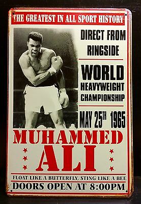 MUHAMMED ALI / 25 May 1965 - Vintage Retro Style Small Metal Sign Boxing 20x30cm