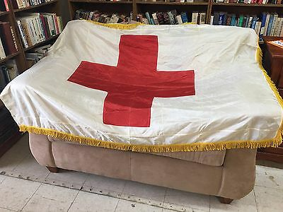 """Vintage red cross flag 5' 6"""" X 3' 10"""" Plus Gold Fring"""