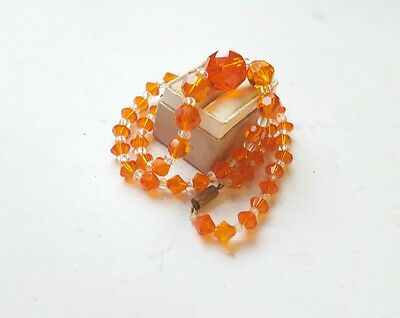 Vintage Graduated Bright Orange 1960s Crystal Glass  Faceted Necklace
