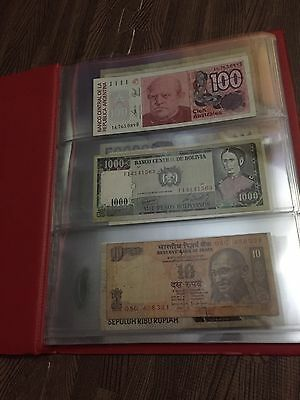 Lot of 65 Different World Banknotes From 26 Different Countries & With Album @$@