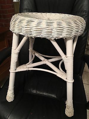 "ANTIQUE VICTORIAN STYLE VINTAGE White WICKER STOOL 18""tall Makeup Table"