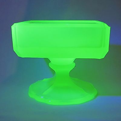 Unusual Uranium Citron Glass square open salt dish on footed base